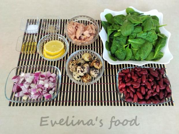 salata cu baby spanac si fasole rosie ingrediente
